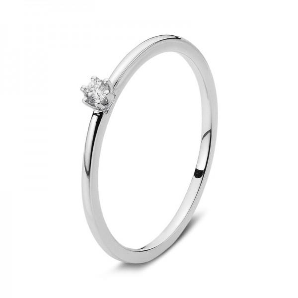 Verlobungsring Diamant Solitaire Ring 750er Weißgold 18kt 0,16ct, Größe 54
