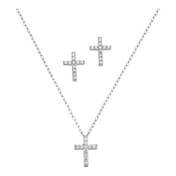 CEM 925er Silber Kette Set Kreuz BGT906200
