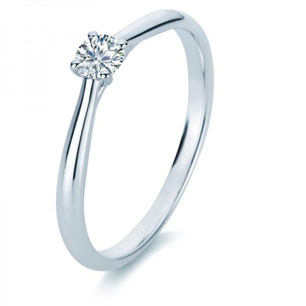Verlobungsring Diamant Solitaire Ring 585er Weißgold 14kt 0,2ct Ring, Größe 56