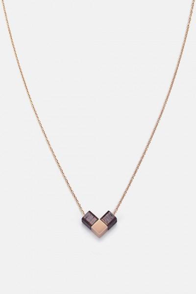 Kerbholz Damenschmuck Heart Cube Neclace Rosewood GEOHEA1125