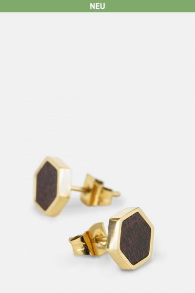 Kerbholz Damenschmuck Hexa Earring gold GEOHEX5369