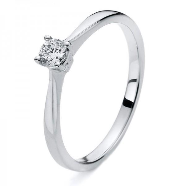 Solitaire Ring 585er Weißgold 14kt 0,18ct Ring Größe: 54