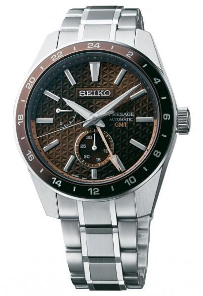Seiko Herrenuhr Presage Sharp Edged Series GMT SPB225