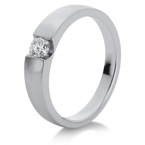Solitaire Ring 585er Weißgold 14kt 0,2ct Ring Größe: 55