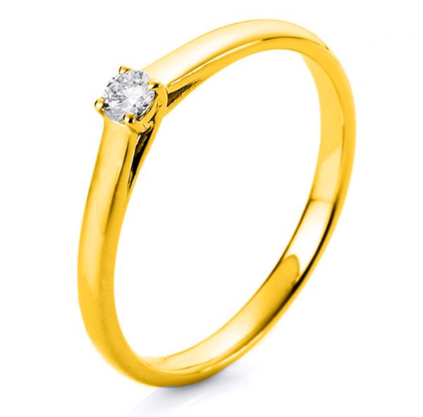 Diamant Schmuck Ring Verlobungsring 4er-Krappe 18 kt, 1 Brill. 0,10 ct