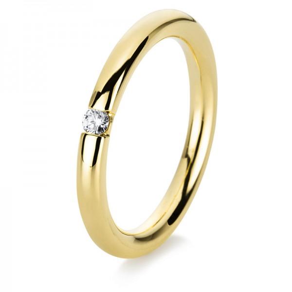 Solitaire Ring 585er Gelbgold 14kt 0,06ct Ring Größe: 53,5