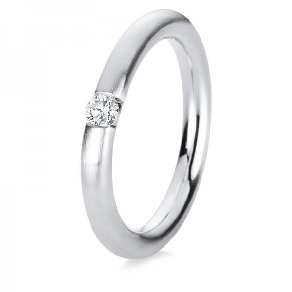 Solitaire Ring 585er Weißgold 14kt 0,1ct Ring Größe: 56