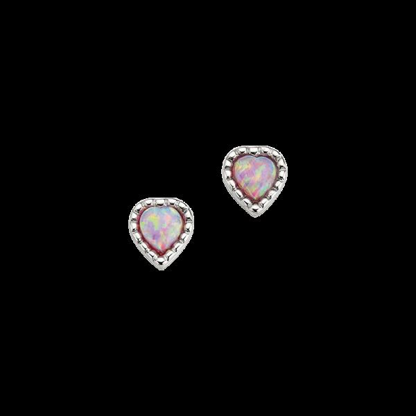CEM 925er Silber Ohrstecker Herz Opal BOS905089