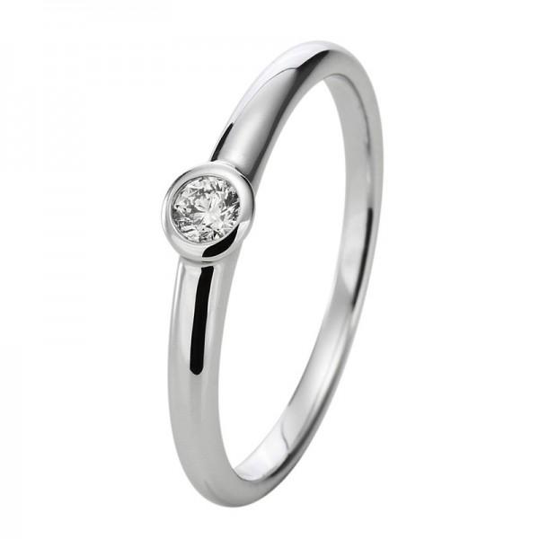 Verlobungsring Diamant Solitaire Ring 750er Weißgold 18kt 0,2ct, Größe 56