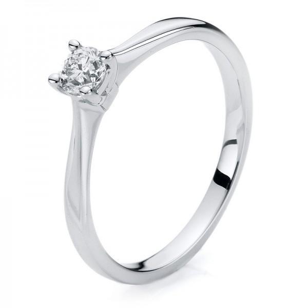 Solitaire Ring 585er Weißgold 14kt 0,23ct Ring Größe: 54