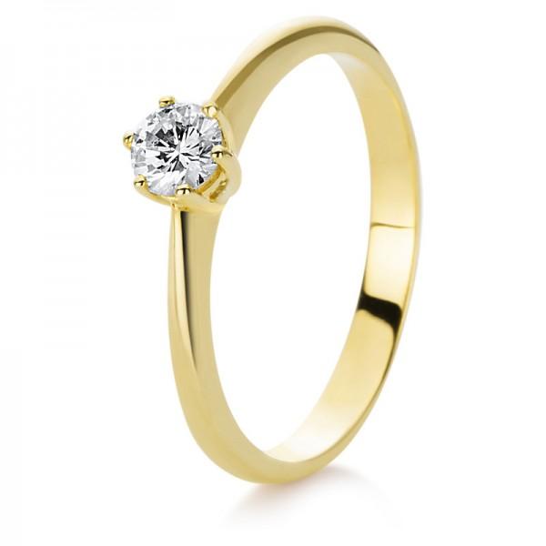 Solitaire Ring 585er Gelbgold 14kt 0,25ct Ring Größe: 53