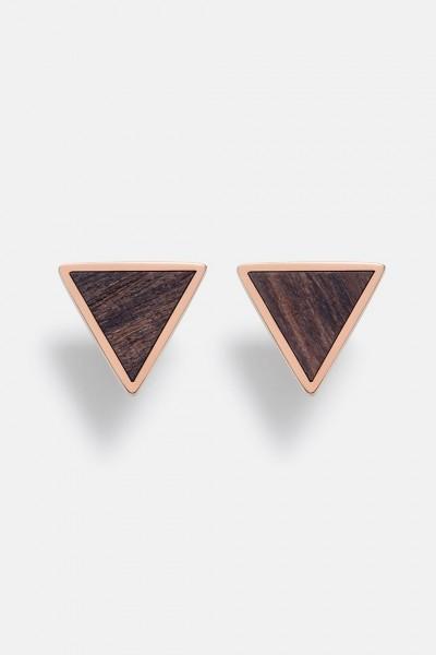 Kerbholz Damenschmuck Triangle Earring Sandalwood Shiny Rosegold GEOTRI1170