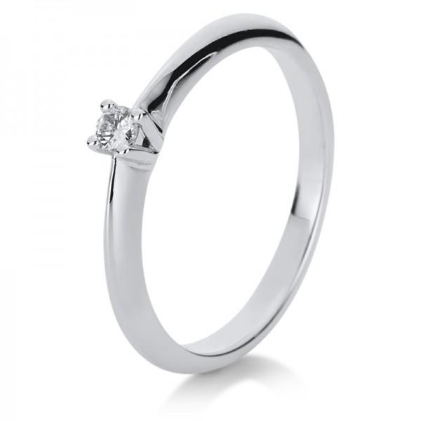 Solitaire Ring 585er Weißgold 14kt 0,07ct Ring Größe: 54