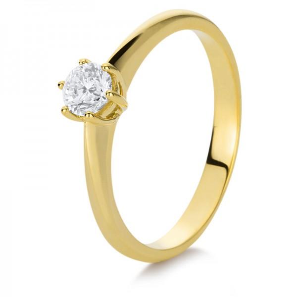 Solitaire Ring 585er Gelbgold 14kt 0,3ct Ring Größe: 53