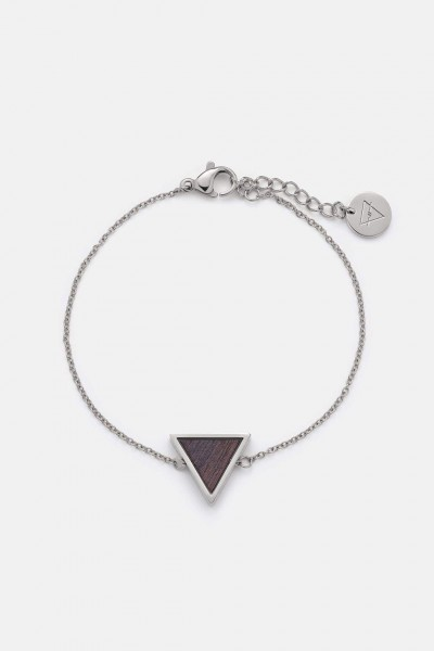 Kerbholz Damenschmuck Triangle Bracelet Sandalwood  Shiny Silber