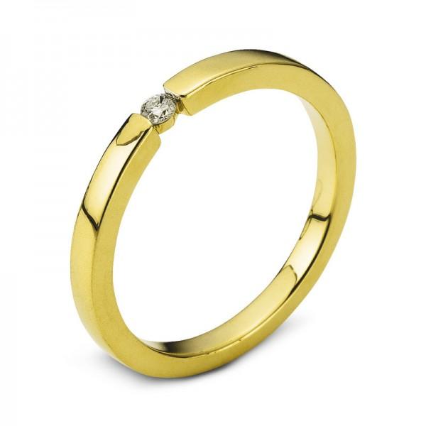 Solitaire Ring 585er Gelbgold 14kt 0,05ct Ring Größe: 53