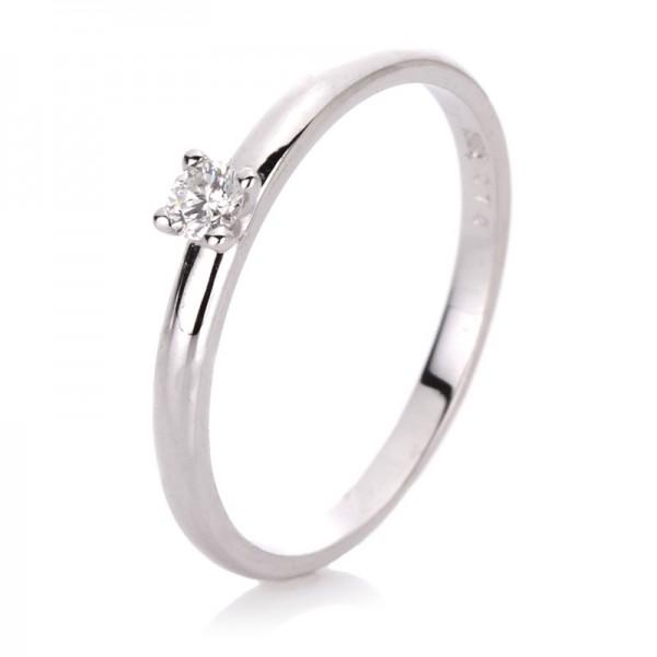 Solitaire Ring 585er Weißgold 14kt 0,1ct Ring Größe: 52